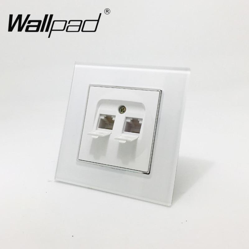 Eu double tel socket wallpad white glass panel eu style - Prise rj45 double ...