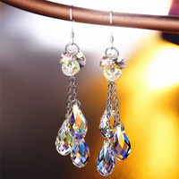 SWAN High Quality crystal 925 sterling silver Earrings Elegant Jewelry Water Drop Earrings Wedding Party Jewellery Accessories