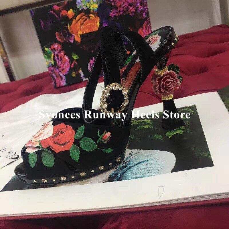 Sandalias de Mujer de lujo 2019 3D flor tacón plataforma Sandalias flatbacks Stiletto tacones altos Floral negro zapatos de Mujer de fiesta Size42-in Sandalias de mujer from zapatos    3