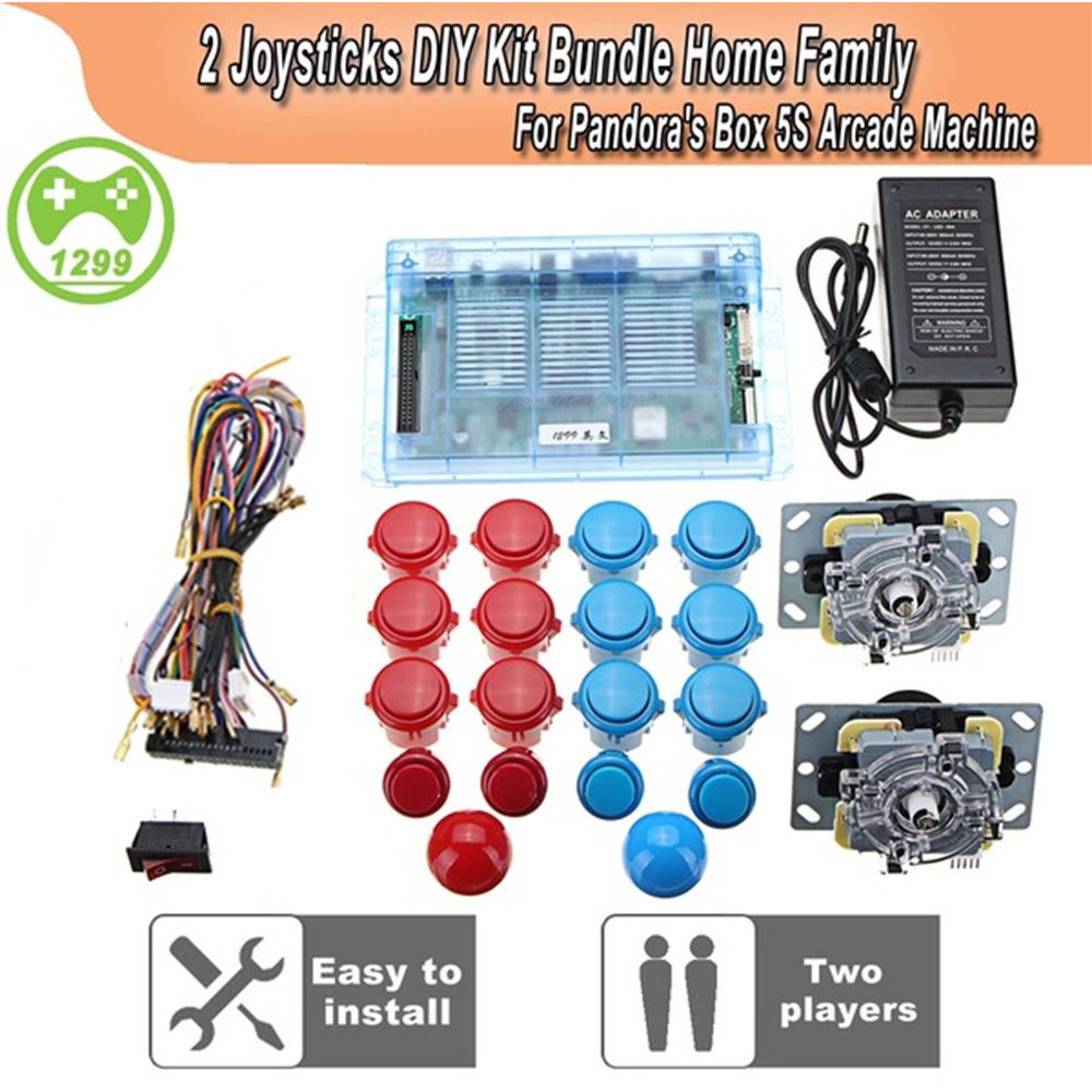 Pandora Box 5S 1299 Games Set DIY Arcade Kit Push Buuttons Joysticks Arcade Machine 2 Joysticks DIY Kit Bundle Home