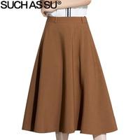 SUCH AS SU New Fashion 2017 Summer A Line Skirts Womens Brown Mid Long Skirt Size S M L XL XXL XXXL Temperament Female Skirt