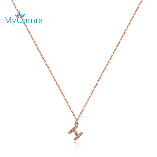 18k rose gold single side H colored gold necklace with female