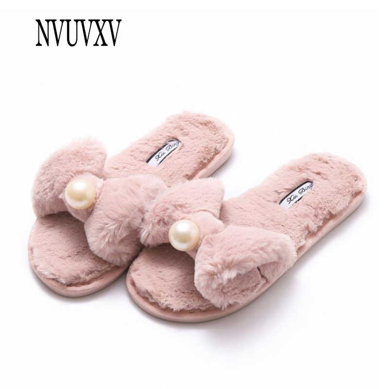 Newest Winter Woman Cotton slippers Slip on Faux Fur Warm Shoes non-slip home Slippers Bow pearl Flats Female House Shoes sh023