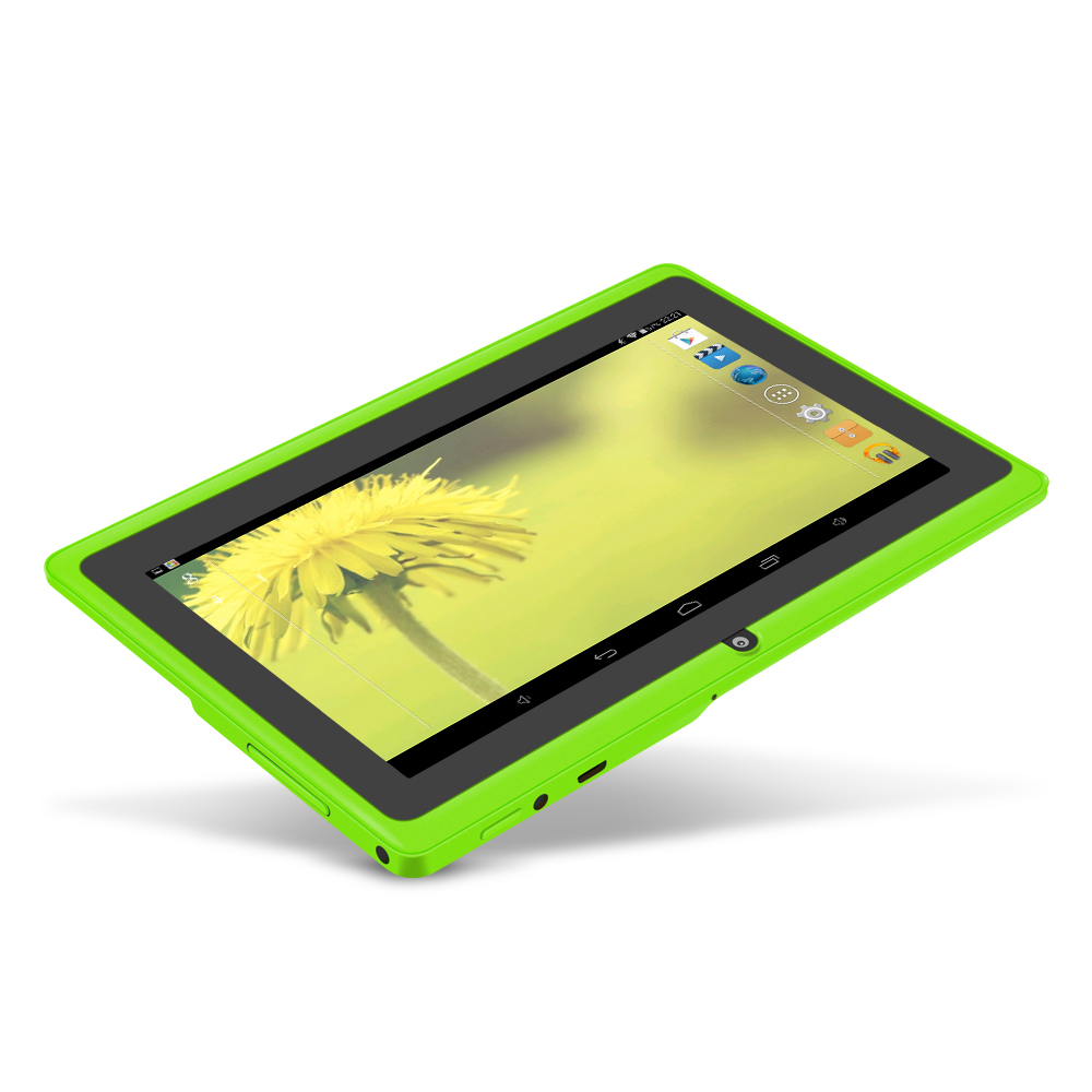 YUNTAB 7inch  Android 4.4 Q88 Allwinner A33 Quad Core 512MB 8GB 1024*600 Dual Camera 2500mAh Battery (green Color)