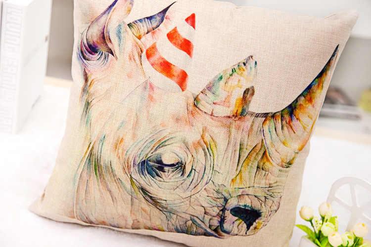 Toptan hayvanlar minder örtüsü için kanepe araba koltukları ev dekoratif yastıklar baskılı Geyik kafası zebra zürafa gergedan 1 adet