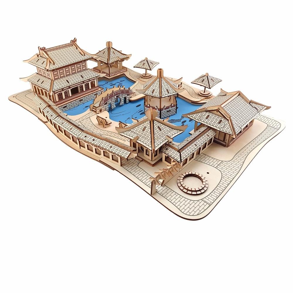 Suzhou jardins modèle Enfants jouets 3D Puzzle montessori jouets En Bois Puzzle jouets Éducatifs pour Enfants