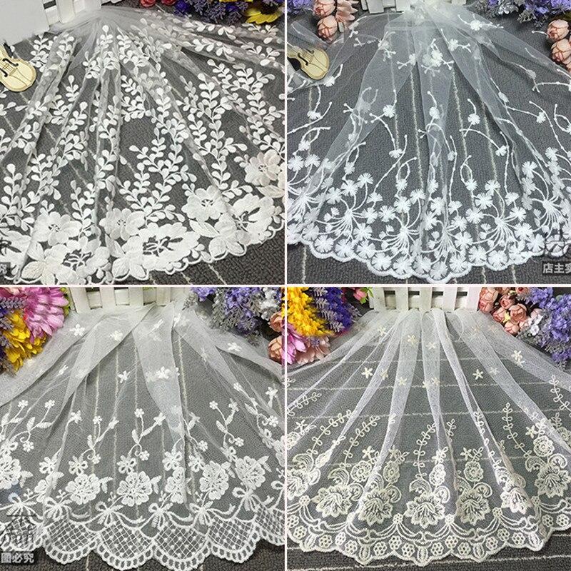 2 מטרים אפריקאים בדי תחרה לבן פרח רקום באיכות גבוהה DIY קרפט תפירת שמלת בגדי נשים של בגדי תחרה לקצץ