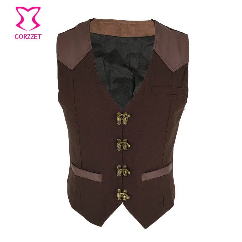 Men's Victorian Gothic Formal Aristocrat Punk V neck Vest Waistcoat Brown Single Ring Buckle Breasted Banquet Suit Vest Jacket
