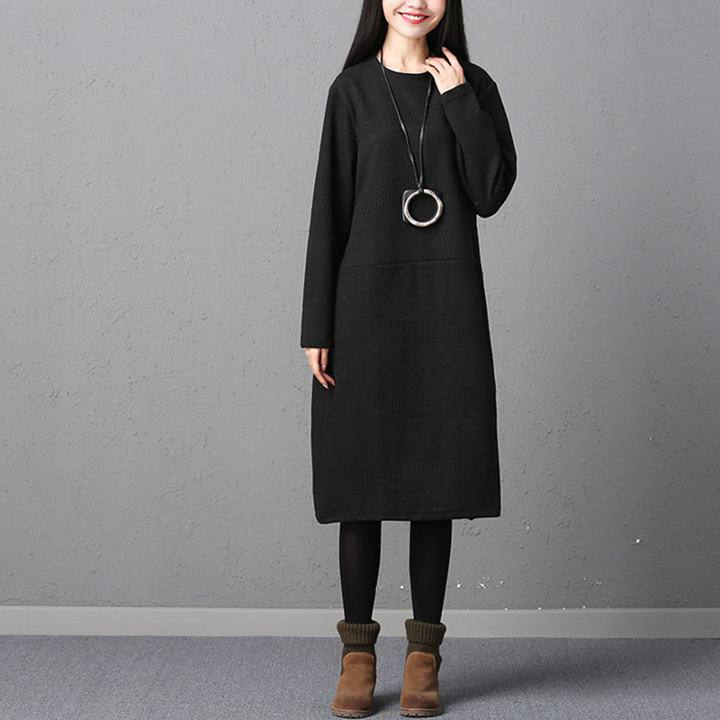 Vestidos Women Vintage Retro Knitted Long Sleeve Dress Autumn Ladies Casual Loose Solid O Neck Mid-Calf Dress Plus Size Fashion plain loose long sleeve plus size dress