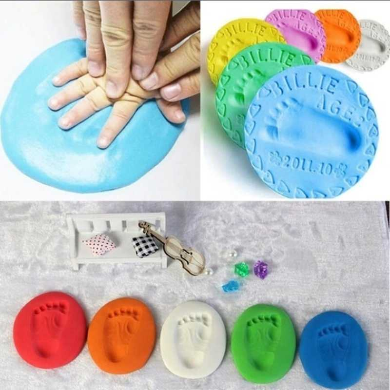 Baby care Air Drying Soft Clay Baby Handprint Footprint Imprint Kit Casting Parent-child hand ink pad fingerprint