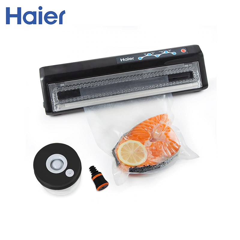 Vacuum food sealers Haier HVS-119 black shineye household food vacuum sealer packaging machine automatic electric film food sealer vacuum packer including 10pcs bags