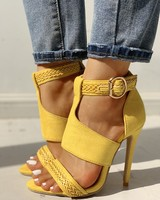 New Design Women Sandals Women Suede Open Toe Braided Detail Thin Heels Buckle Strap Peep Toe Shoes Mujer Wedding Shoes