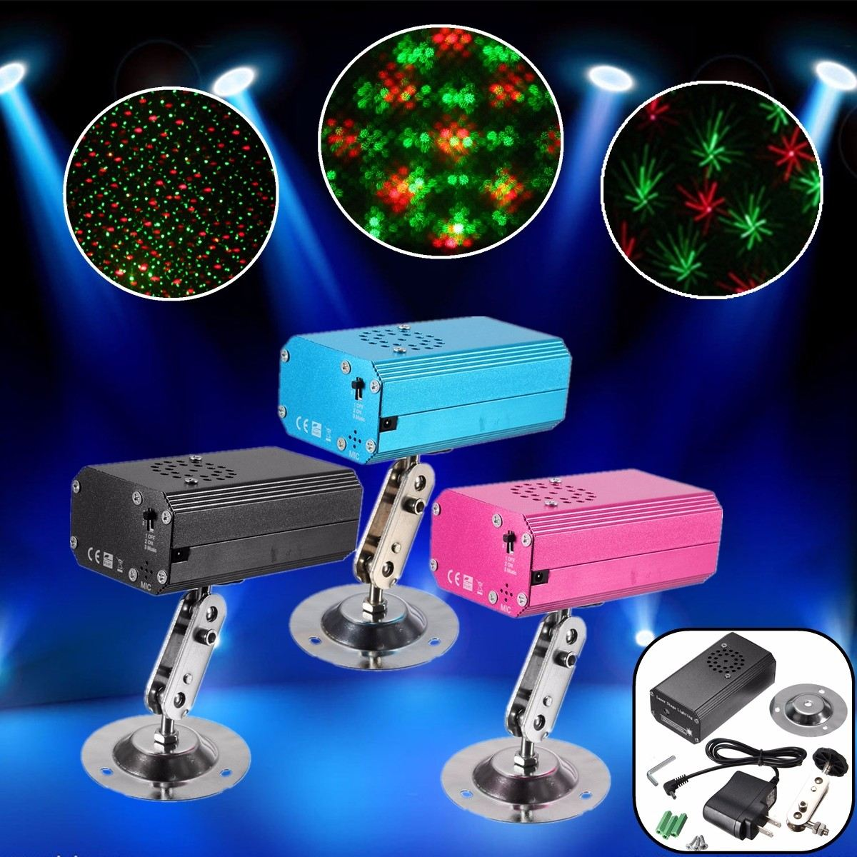 Aluminum Voice Control LED Laser Projector Star Stage Light Night Lamp Rack Stand DJ Club Pub Disco Wedding Party Show Lighting