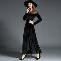 Fall Winter Velvet Long Sleeve Maxi Dresses For Women Vintage Black Gothic Dress With Gold Sequins