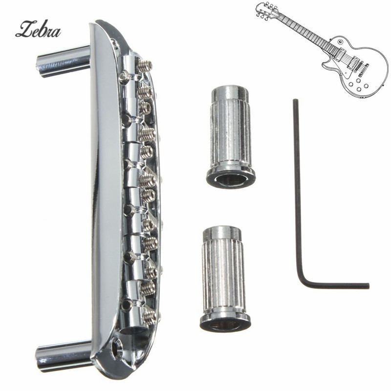 Zebra Steel Zinc Alloy Musical Instruments Parts Chrome Electric Guitar Tremolo 6 String Guitar Bridge Assembly With Wrench