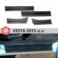 الباب سيلز ل Lada Vesta 2015-البلاستيك ABS خطوة لوحة الداخلية تريم اكسسوارات حماية جرجر سيارة التصميم الديكور