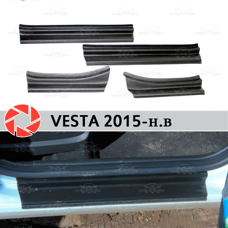 Door sills for Lada Vesta 2015- plastic ABS step plate inner trim accessories protection scuff car styling decoration