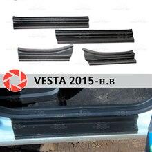 Дверные пороги для Lada Vesta 2015-пластиковые ABS шаг пластины внутренняя отделка Аксессуары защита потертости автомобиля Стайлинг украшения