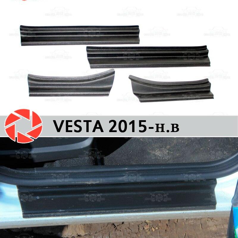 Seuils de porte pour Lada Vesta 2015-plaque de marche en plastique ABS garniture intérieure accessoires protection éraflure décoration de style de voiture