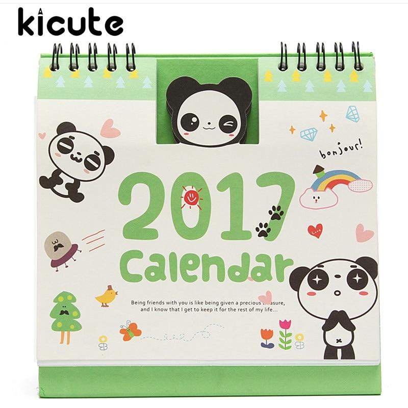 Kicute Excellent 2017 Animal Panda Cartoon Desktop Calendar Planner Flip Stand Table Planner And Memo Agenda Office Home