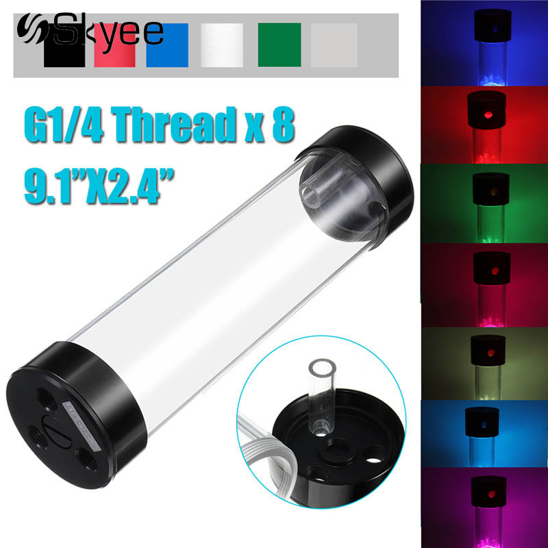 60x234mm Acrylic Aluminum Water Cooling Tank G1/4 Cylinder Water Cooling Reservoir for Computer CPU Support RGB Light Bar 390mm cylinder water tank sc600 pump all in one set maximum flow 600l h computer water cooling radiator