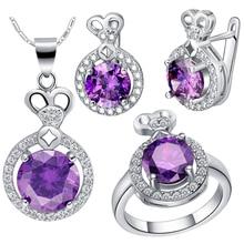 Uloveido Wedding Jewelry Set Silver Rings Earrings Necklace Sets CZ Zircon Jewelry Wedding Accessories 60% Off Sale T462 Bijoux