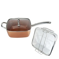 Wholesale 4 Piece Copper Plated Square Pan Non stick Pan Glass Lid Fry Basket Steam 9.5 inches used in induction Cooking tools
