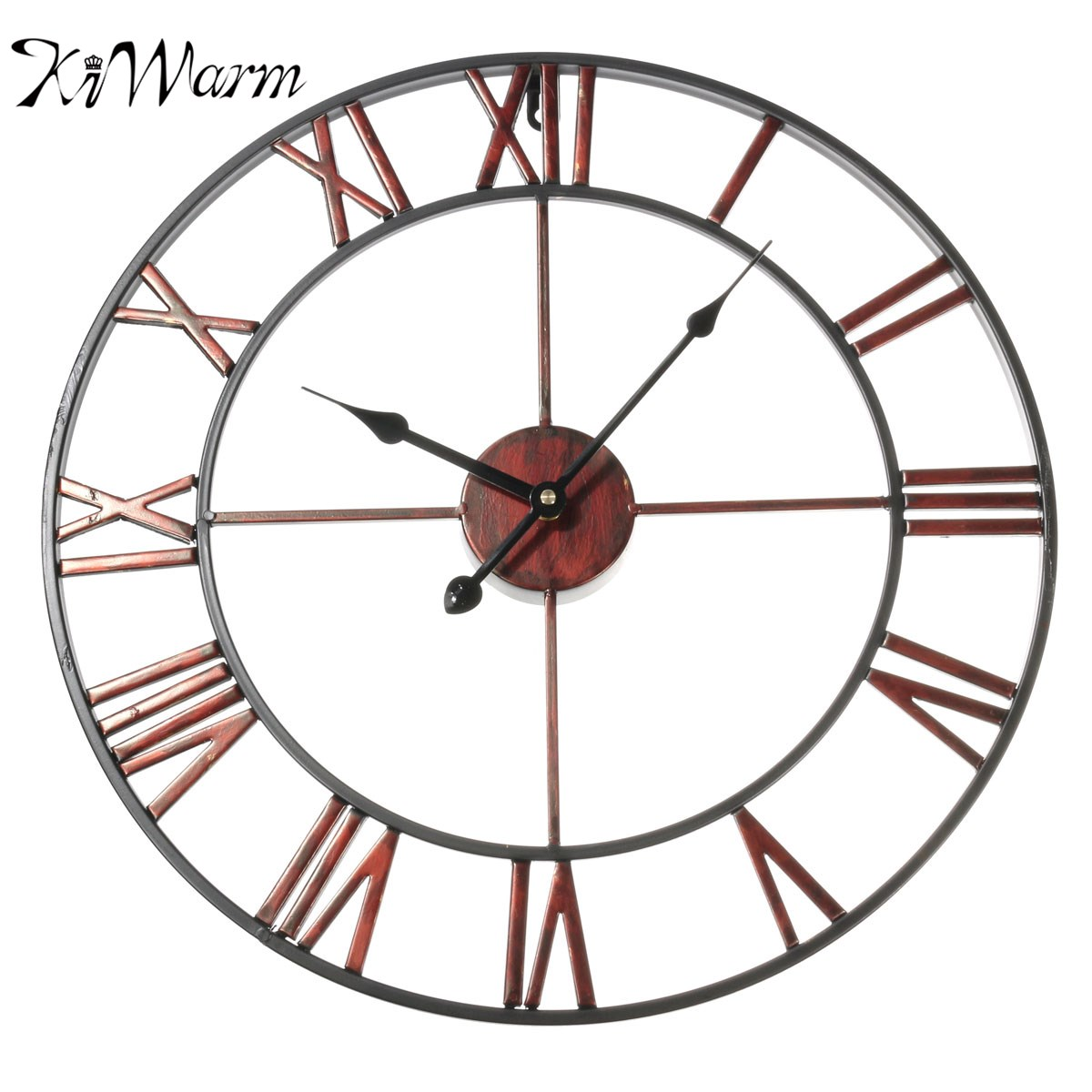 KiWarm Retro Classic Large Metal Wrought Iron Wall Clock Provincial Roman Numerals Art Gear Decoration for Home Craft
