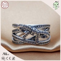 New Arrival Fitting Original Famous Brand Noble CZ Paving 100% 925 Authentic Silver Multi Levels Bowknot Party Ring