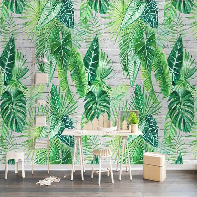 Nordic Minimalist Tropical Plant Turtle Leaf Background Wall Painting Manufacturer Wholesale Wallpaper Mural Custom Photo Wall in Wallpapers from Home Improvement