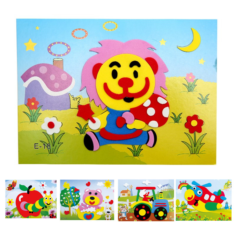 DIY Cartoon Animal 3D EVA Foam Sticker 20 Designs Puzzle Series Early Learning Education Toys For Children
