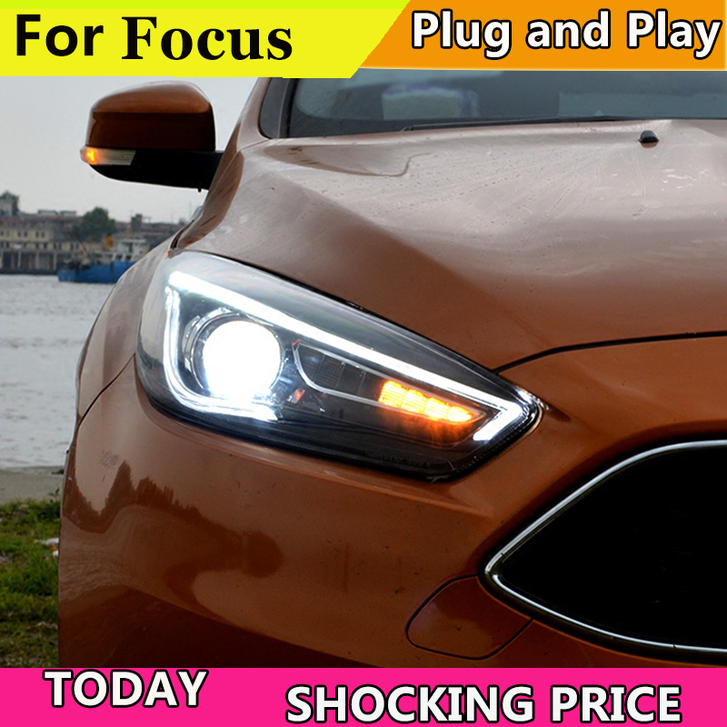 doxa Car styling case for Ford Focus Headlights Focus Headlights LED Headlight DRL Lens Double Beam HID Free shipping