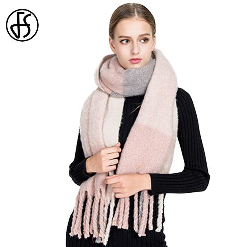 FS Winter Brand Plaid Women Warm Cashmere   Scarf   Blanket Wool Thick Luxury   Scarves     Wraps   Shawls With Tassel Echarpe Pashmina
