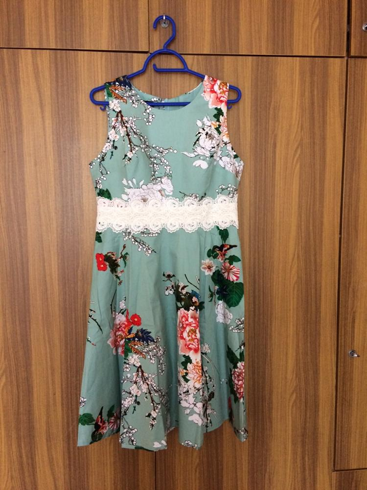 Women Vintage Casual Round Neck A Line Dress Summer Elegant Flower Lace Patchwork Sleeveless Tunic Party Swing Dress photo review