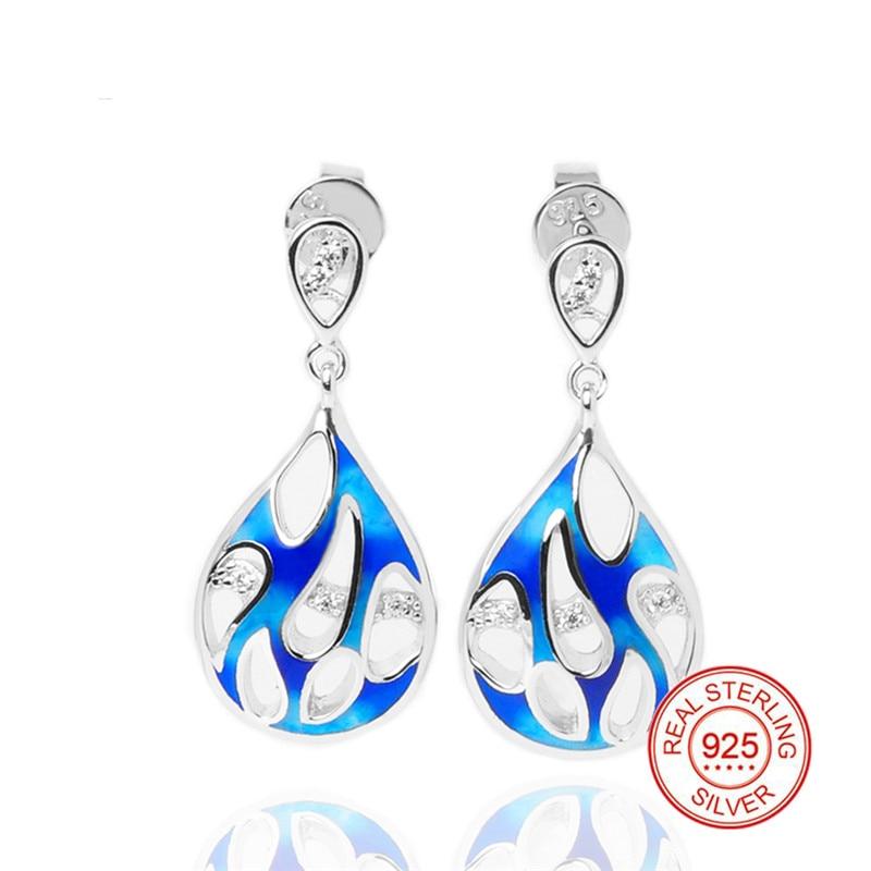 925 стерлингового серебра эмаль Для женщин серьги синий с эмалированными цветами и Малый кубического циркония серьги для Для женщин партия ю
