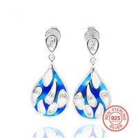 925 Sterling Silver Enamel Women Stud Earrings Blue Enamel Flower and Small Cubic Zirconia Earring for Women Party Jewelry