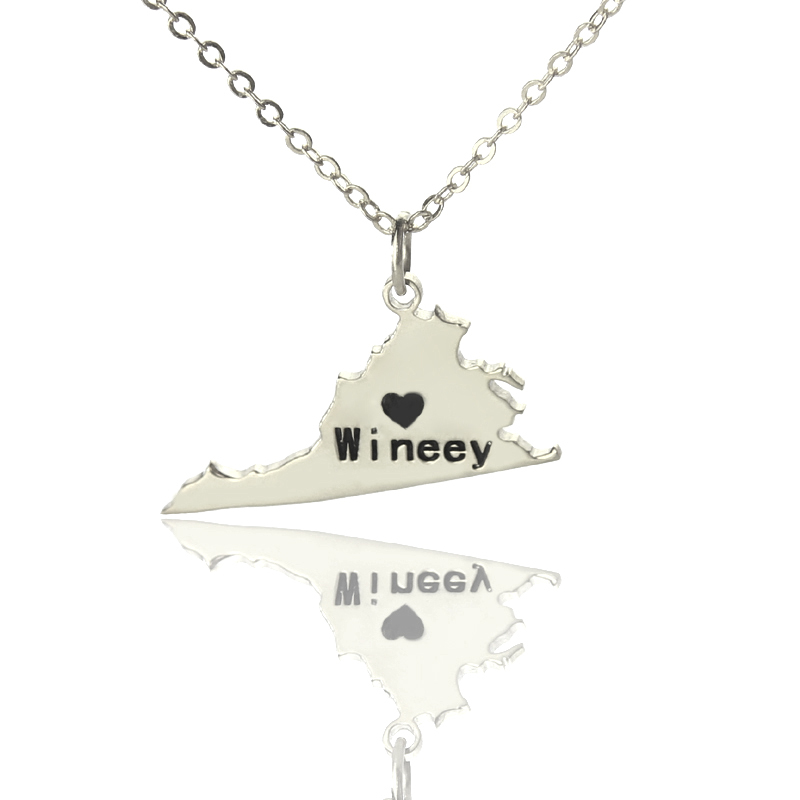 Custom Silver State Necklaces DIY America Virginia State Shaped Charm Necklace Map Necklace
