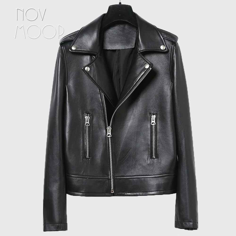 Women Black Genuine Leather Real Lambskin Motorcycle Biker Jacket Coat Off-center Zipper Casaco Feminino Ropa LT2521 FREE SHIP