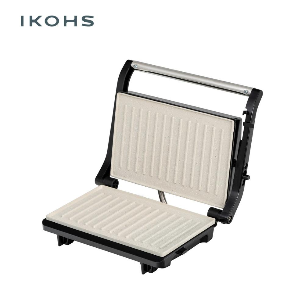 IKOHS Grill Grille PRO Sandwich Maker Grills Grilled 750W Color Silver Metal Floating Cover Nonstick Adjustable image