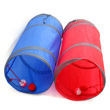 1Pcs! Foldable 1 Holes Pet Cat Tunnel Funny Cat Play Tunnel with Hanging Ball Kitten Rabbit Play Tunnel Toy Pet Supplies