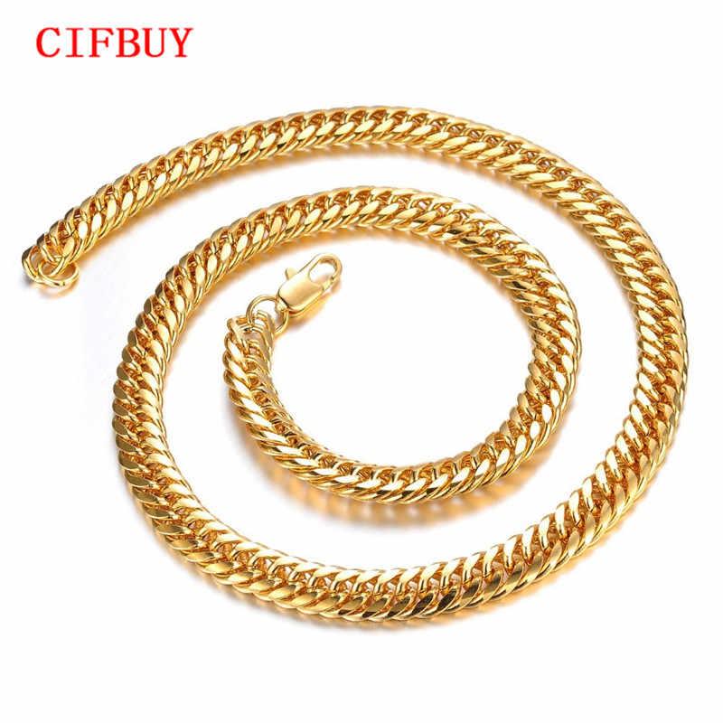 8mm masywny luksusowy złoty wypełniony Curb kubański naszyjnik łańcuszkowy gruby ciężki Link Chain mężczyźni naszyjnik dostosowane biżuteria prezent