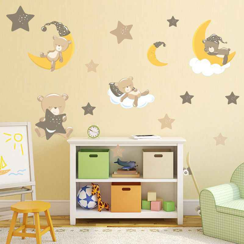 Cartoon Cute Bear Animals Wall Stickers for Kids Room PVC Moon Stars Decorative Wall Stickers Nursery Baby Children Decor
