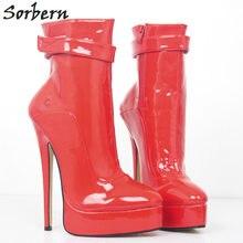 Sorbern zapatos rojos para las mujeres Runway mujer botas invierno 2018  tobillo zapatos botas gótico 27ecedd91027