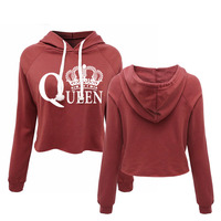 Harajuku Queen Cropped Hoodies Camisetas Mujer Bustier Women S Crop Top Hoodie Sweatshirt
