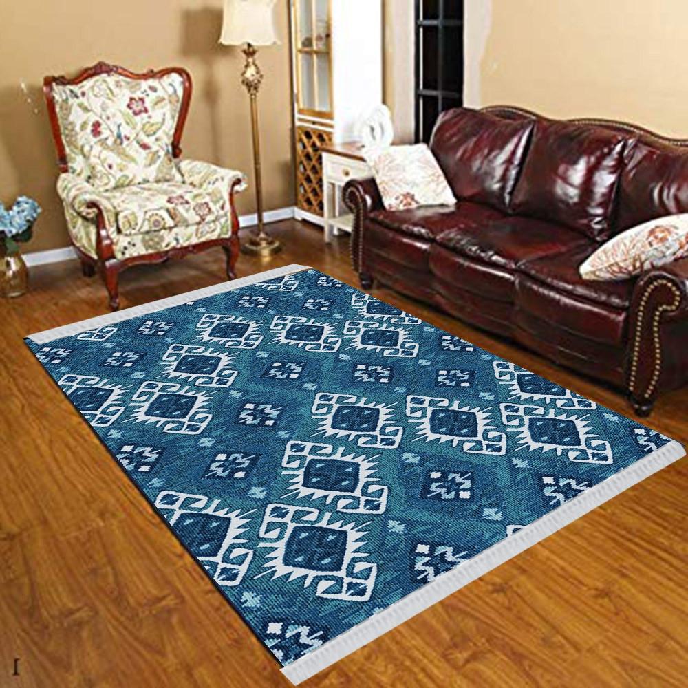Else Blue White Aging Retro Ottoman Ethnic Vintage 3d Print Anti Slip Kilim Washable Decorative Kilim Tassel Rug Bohemian Carpet
