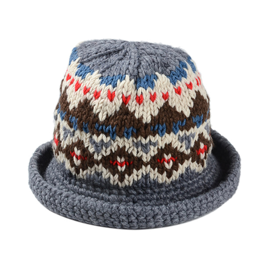 e2872955e38 Women Winter Vintage Pattern Handmade Warm Knitted Hat Brim Foldable Bucket  Hat -in Bucket Hats from Apparel Accessories on Aliexpress.com