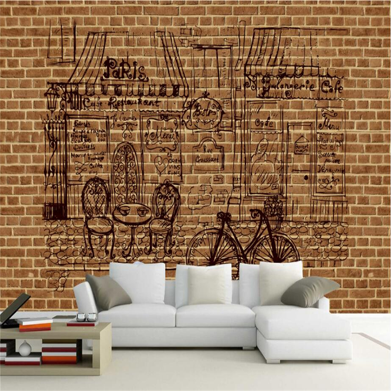 Vintage Brick Wallpaper for Walls 3D Photo Wall Papers for Living Room Home Decor Black Line Stone Wall Mural Waterproof Sticker