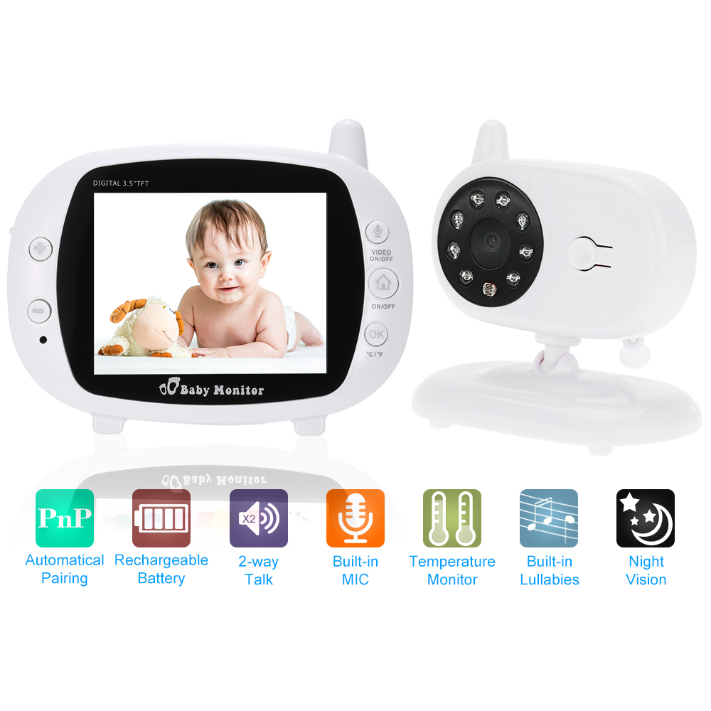 3 5 Wireless 2 4GHz Baby Monitor WiFi With Two Way Intercome 8IR LED 3 Lullabies