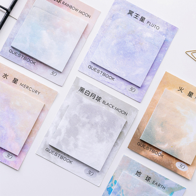 Planets Series Cute Kawaii Memo Pad Sticky Notes Bookmark Post It Students planner Stickers Stationery Office School Supplies