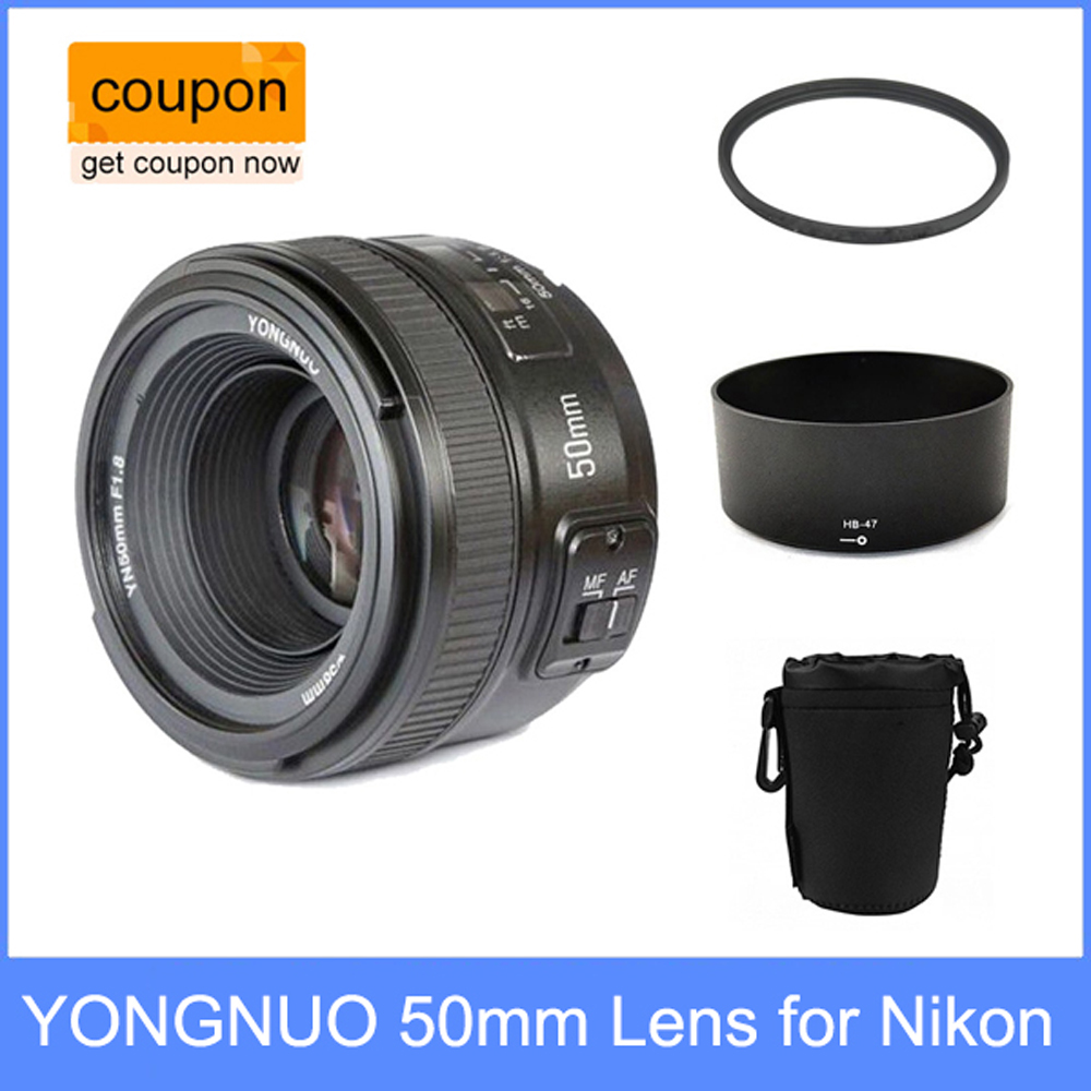 YONGNUO YN 50mm YN50mm f/1.8 AF Lens + Lens Hood + UV Filtre + Lens Case Set mise Au Point automatique pour Nikon Caméras AF-S 50mm 1.8g